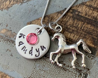 Girls Horse Necklace Horse Jewelry Name  Necklace Horse Lover Gift Birthday Necklace Girls Christmas Gift