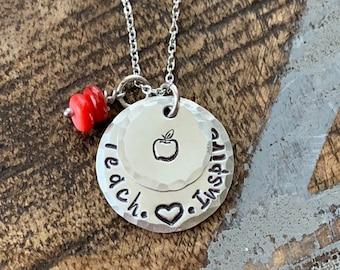 Teacher Necklace Teach Love Inspire Necklacr Gift for Teacher Teacher Gift Teacher Jewelry Handstamped Necklace Inspirational