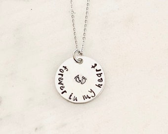 Sympathy Gift Forever In My Heart Necklace Baby Footprints Necklace Loss of a Loved one RIP Never Forgotten In loving memory In memory Of