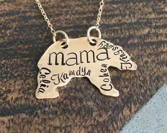 Mama Bear Necklace Mothers Day gift Momma bear necklace Name necklace golden mama necklace bear necklace mom gift mama gift
