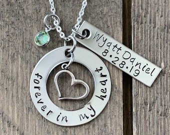 Memorial Gift Hand Stamped Memorial Jewelry Custom Memorial Necklace Sympathy Gift Personalized Miscarriage Necklace Infant Loss Jewelry