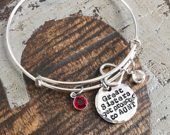 Great Sisters Get Promoted to Aunt Aunt Bangle Aunt Jewelry Handstamped Necklace Name Necklace Auntie Necklace New Aunt Gift Sister Bracelet