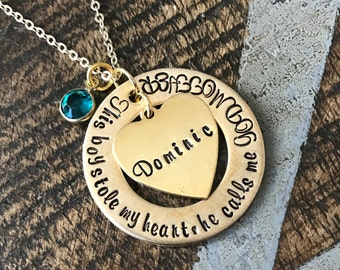 Gold Godmother Necklace Theres this boy who stole my heart Handstamped Necklace Godmother Jewelry Custom Jewelry Gift for Godmother