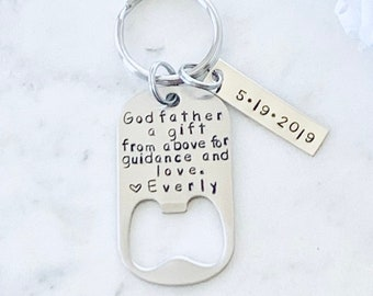 Godfather Gift Gifts for Men A Gift From Above Godfather Keychain Personalized Godfather Gift baptism gift Handstamp Keychain Baptism Favor