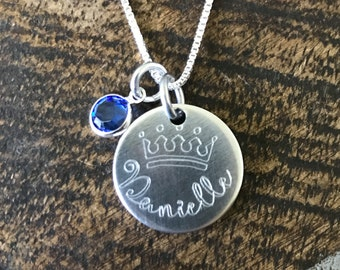Engraved Necklace Crown Necklace Name Necklace Custom Necklace Birthstone Jewelry Crown Jewelry Gift for Daughter Daughter Necklace