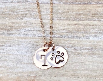Heart Paw Necklace, Dog Mom Necklace, Puppy Love Paw Necklace, Gift for Dog Mom, Personalized Pet Initial Necklace, Tiny Rose Gold Disc