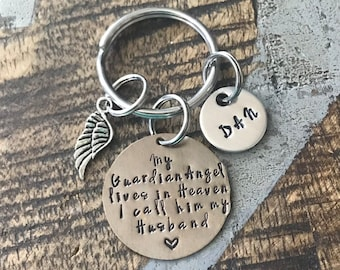 Guardian Angel Keyring Guardian Angel Keychain Memory Keyring Memory Keychain Handstamped Personalised Keyring Personalized Keychain