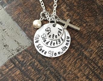 Mamaw Necklace Grandchild Necklace Personalized Necklace Personalized Jewelry Handstamped Necklace Gift for Grandma Handstamped Jewelry