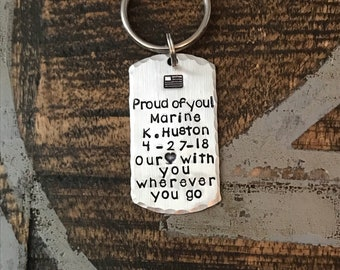 Military Dogtag Key Chain Military Graduation Keychain Hand Stamped Keychain Deployment Keychain USA Flag Keychain Military Keychain