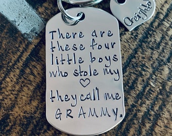These Boys Stole My Heart Keychain Grammy Keychain Handstamped Keychain Gift for New Grandma Keychain This boy Stole my Heart