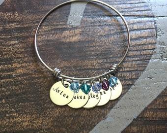 Charm Bracelet Gift for Mom Grandma Bracelet Adjustable Bangle Handstamped Mother Bracelet Mother Jewelry Adjustable Bracelet Mom Bracelet