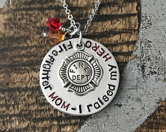 Firefighter Mom Necklace Firefighter Mom Jewelry I raised my HERO Personalized Necklace Firefighter Gift Firefighter Badge