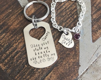This Girl Stole My Heart Keychain Daddy Keychain Handstamped Keychain Gift for New Dad Dad Keychain Daddys Girl Bracelet Daddy Daughter Gift