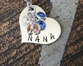 Nana Necklace Grandchild Necklace Personalized Necklace Personalized Jewelry Handstamped Necklace Birthstone Necklace Mothers Day Gift