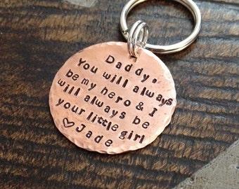 Dad Keychain Daddy Keychain Handstamped Keychain Personalized Keychain Copper Keychain Dad Quote Keychain