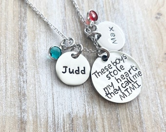 Mimi Necklace There's these boys who stole my heart Handstamped Necklace Personalize Jewelry Mothers Day Gift Grandma Jewelry Custom