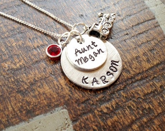 Aunt Necklace Aunt Jewelry Personalized Jewelry Handstamped Jewelry Name Necklace Auntie Necklace Auntie Jewelry