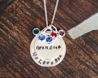 Grandma Necklace Grandchild Necklace Personalized Necklace Personalized Jewelry Handstamped Necklace Birthstone Necklace