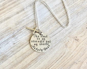 Girls Cross Necklace Baptism Necklace Boys Jewelry Cross Necklace Toddler Jewelry Boy Birthday Gift Son Easter Gift Lord is my Strength