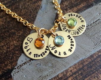 Handstamped Gold Necklace Name Necklace Gold Birthstone Jewelry Gold Necklace Custom Necklace Birthstone Necklace Gift for Mom Mom Necklace