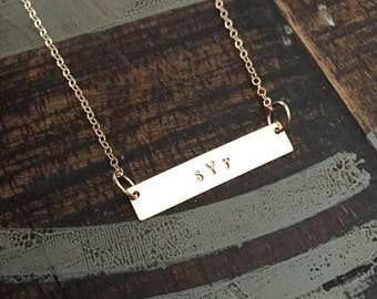 Gold Bar Necklace Initial Jewelry Gold Necklace Handstamped Jewelry Handstamped Necklace Name Necklace Hammered Necklace