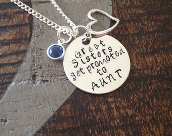 Great Sisters Get Promoted to Aunt Aunt Necklace Aunt Jewelry Personalized Jewelry Handstamped Jewelry Name Necklace Auntie Necklace