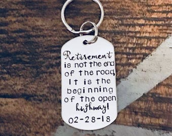Personalized RETIREMENT KEYCHAIN Retirement Gift Retirement Keyring Retirement Accessory Happy Retirement Gift for him Custom Keychain
