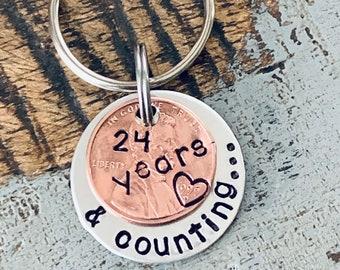 Anniversary Penny Keychain Anniversary Keychain 24 years and counting Penny Keychain Anniversary Lucky Keychain Date Keychain