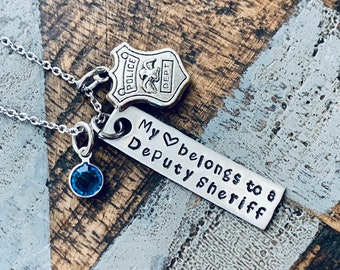 Deputy Sheriff Necklace Deputy Sheriff Wife Police Badge Law Enforcement Gift Deputy Sheriff Mom Law Enforcement Necklace My Heart Belongs