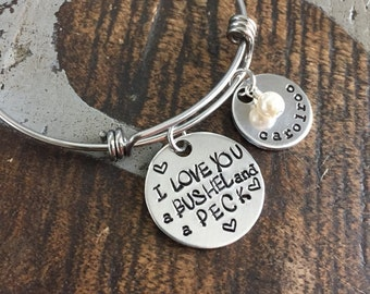 Handstamped Bracelet Expandable Silver I Love You A Bushel and a Peck Bracelet Teacher Gift Personalized Jewelry Gift for Mom Name Bracelet