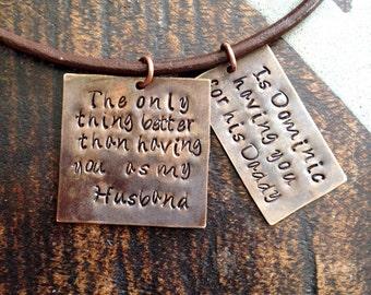 Mens Necklace Husband Necklace Handstamped Necklace Daddy Necklace Dad Jewelry Leather Necklace Natural Brass Necklace