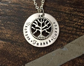 Tree of Life Necklace Mom Necklace Grandma Necklace Handstamped Jewelry Mothers Day Gift Gift for New Mom Personalized Necklace Washer