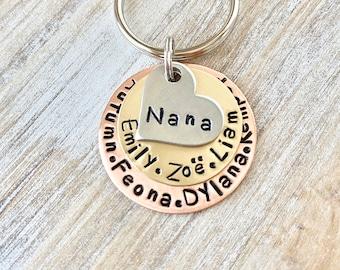 Nana Keychain MOM Keychain New Mom Mother's Day Gift Mom's Birthday Nana Keychain Grandma Keychain Mixed Metal Keychain Stamped Accessory