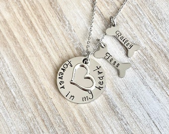 Forever in my Heart Necklace Personalized Pet Loss A Piece of My Heart Lives In Heaven HandStamped Necklace Dog Cat Pet Memorial Jewelry