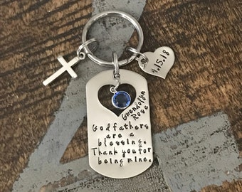 Godfather Keychain Baptism Gift Christening Keychain Handstamped Keychain Custom Keychain Godfathers Are A Blessing Gift for Godfather