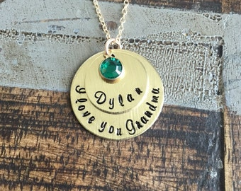 Grandma Necklace Handstamped Necklace Gold Necklace Gold Layered Necklace Birthstone Necklace Mothers Day Jewelry Gift for Mom