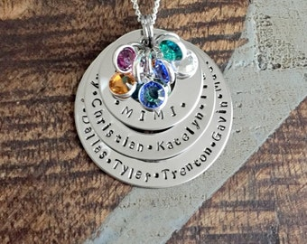 Personalized Necklace Mothers Day Gift Customized Washer Necklace Birthstone Necklace Mimi Necklace Handstamped Necklace Mom Necklace