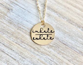 Gold Handstamped Necklace Gold Mom Necklace inhale exhale Necklace Gift for Mom Gold filled Jewelry Gold Name Jewelry 14K Gold