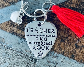 Educational Rockstar keychain Gift for Teacher Teacher Appreciation big heart keychain End of Year Gift Teacher Gift guitar pick keychain