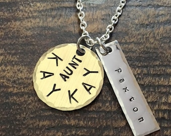 Aunt Necklace Aunt Jewelry Personalized Jewelry Handstamped Jewelry Name Necklace Auntie Necklace Handstamped Necklace New Aunt Gift