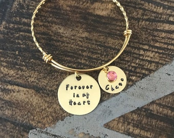 Forever in my Heart Bracelet Memorial Jewelry Sympathy Bangle Handstamped Bangle Personalize Jewelry Mothers Day Gift Gold Bangle
