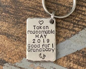 Grandpa Keychain New Grandma Gift Grandma Keychain Grandpa Keychain Grandchild Token New Mom Gift Baby Announcement Keychain
