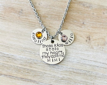 These Kids Who Stole My Heart Necklace They Call Me Mimi Jewelry Hand Stamped Gift For Mimi Custom Necklace Gift for Mom