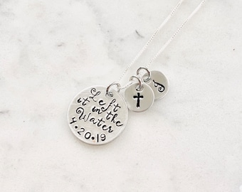 FREE SHIP USA Christian Jewelry Left it in the Water Baptism Necklace with Custom Baptized Date Hand Stamped Religious Jewelry for Her
