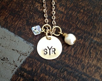 Monogram Necklace Gold Handstamped Necklace Initial Necklace Gold Necklace Personalized Necklace Gold Jewelry Bridesmaid Gift
