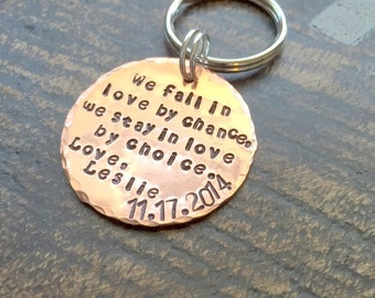Couples Keychain Gift for Husband Gift for Wife Handstamped Keychain Personalized Keychain Anniversary Keychain