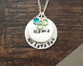 Meme Necklace Grandchild Necklace Personalized Necklace Personalized Jewelry Handstamped Necklace Birthstone Necklace