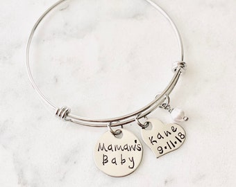 FREE SHIP Mamaw Hand Stamped Bracelet Grandmother Gift Mother's Day Jewelry Gift for Mamaw Personalized Jewelry Custom Bangle Mamaw's Baby