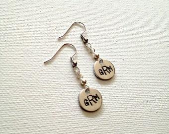 Handstamped Earrings Monogram Earrings Monogram Jewelry Personalized Earrings Initial Earrings Dangle Earrings Valentines Day Gift