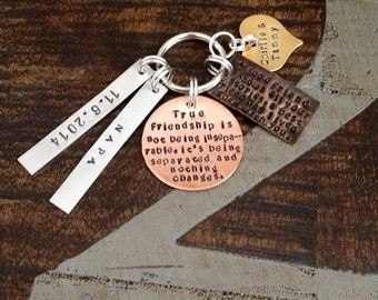 Custom Keychain True Friendship Keychain Gift for Best Friend Mixed Metals Keychain Best Friend Keychain Long Distance Gift